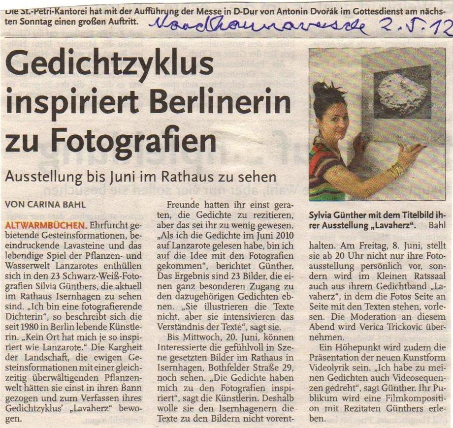 Nordhannoveranische Zeitung, 2. Mai 2012 | Sylvia Günther
