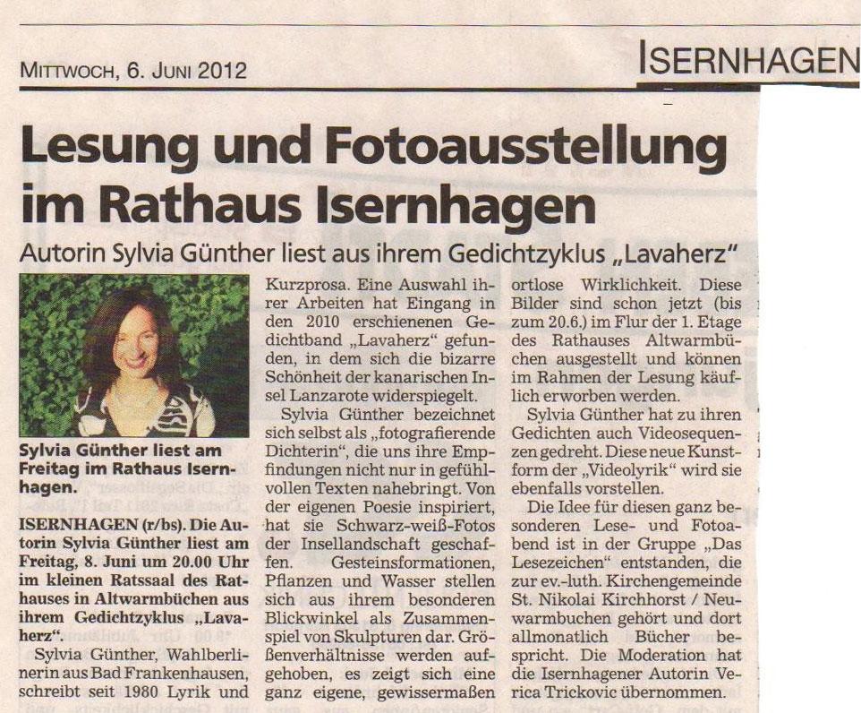 Zeitungskritik vom 6. Juni 2012 | Sylvia Günther