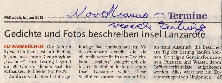 Nordhannoveranische Zeitung, 6. Juni 2012 | Sylvia Günther