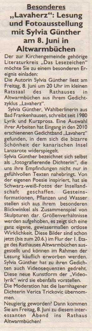 Zeitungskritik vom 8. Juni 2012 | Sylvia Günther