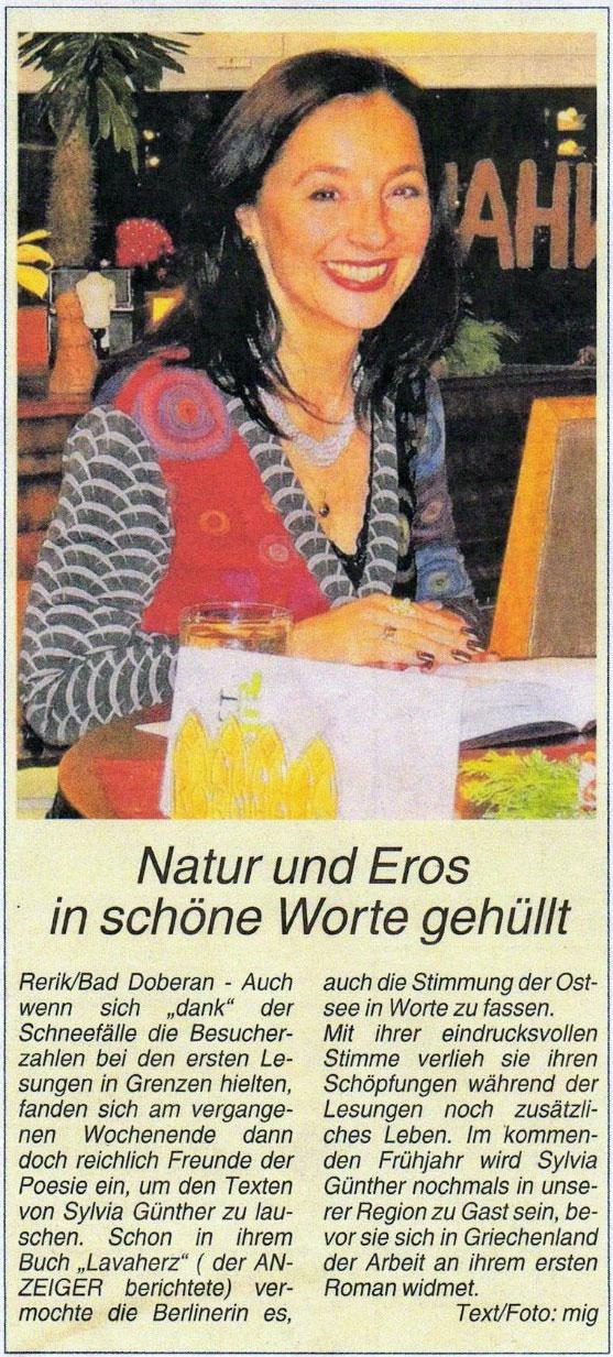 Lesungen in Rerik und Bad Doberan, Ostseezeitung, November 2010  | Sylvia Günther