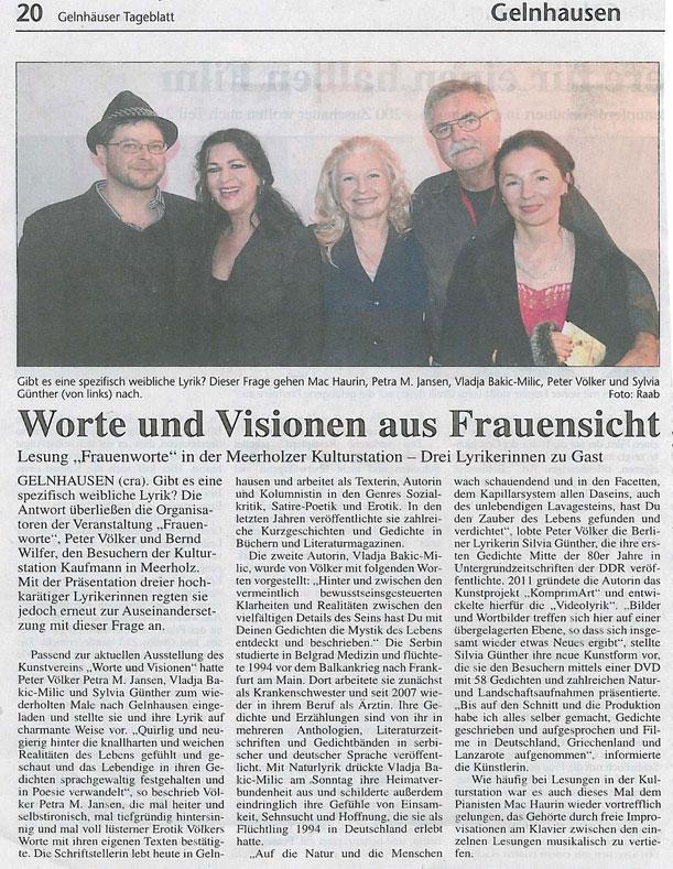 Lesung und Videolyrik in der Kulturstation Meerholz, November 2012 | Sylvia Günther