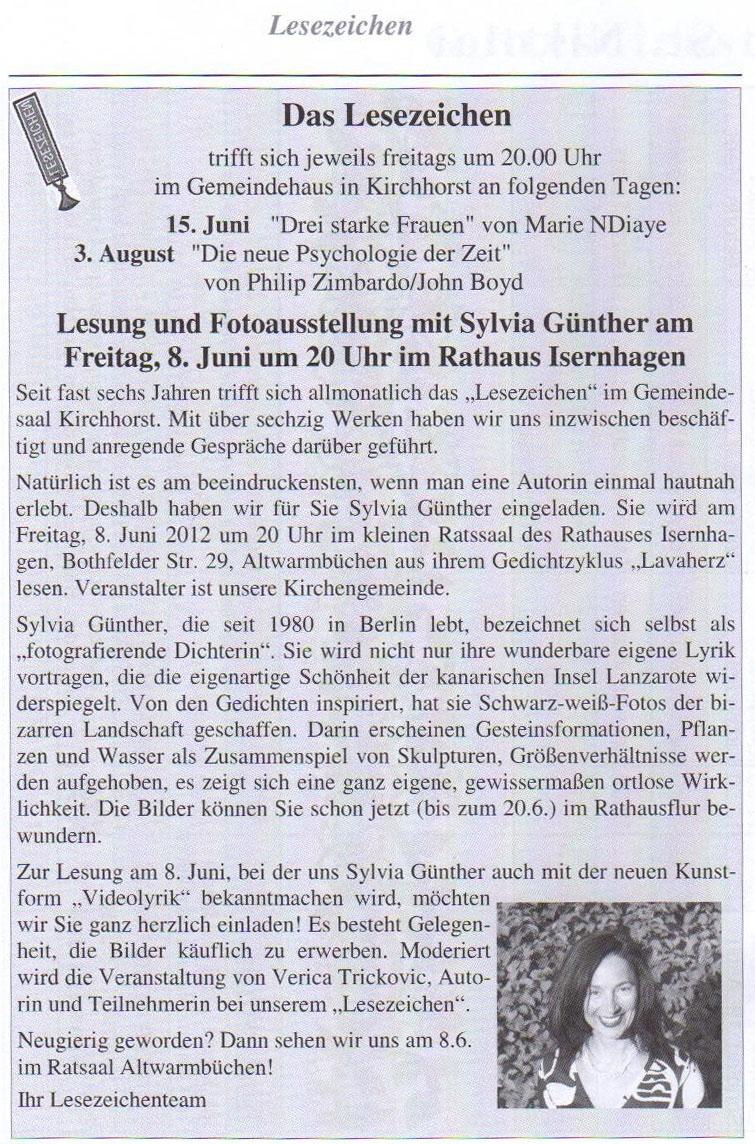 Kirchenzeitung  Kirchhost, Mai 2012 | Sylvia Günther