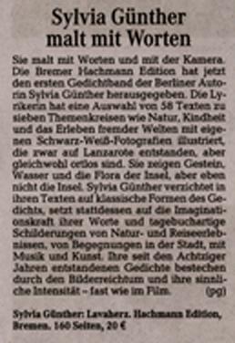 Lesungen auf der Frankfurter Buchmesse 2010, Das Magazin im Kurier am Sonntag, (Bremen), 5. Dezember 2010  | Sylvia Günther