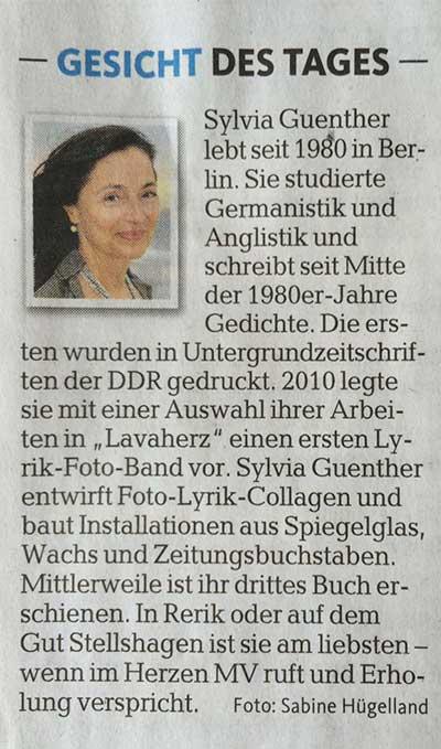 Zeitungsausschnitt Ostseezeitung 9 August 2014 | Sylvia Günther